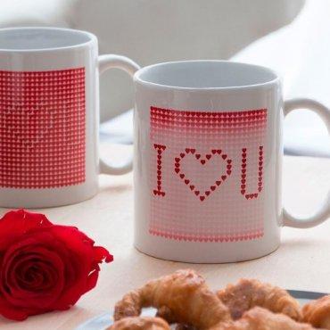 """Baltas magiškas puodelis """"Aš tave myliu"""""""