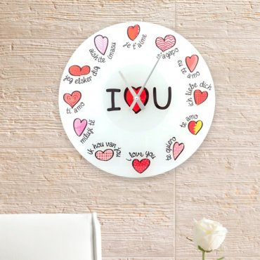 """Sieninis laikrodis """"Aš tave myliu"""" įvairiomis kalbomis"""