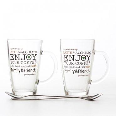 """Du """"latte"""" puodeliai su šaukšteliais"""