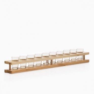 10 taurelių su mediniu stovu