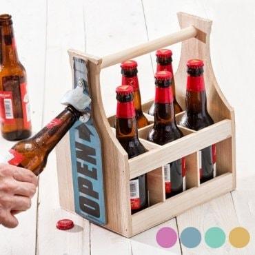 Butelių laikiklis su atidarytuvu