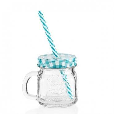 6 stiklinės su dangteliais ir šiaudeliais (200 ml)