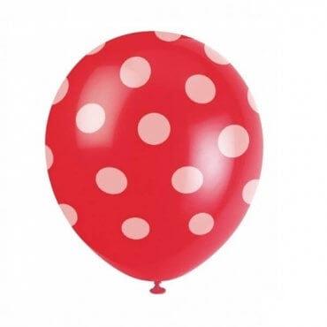 Raudonas taškuotas balionas
