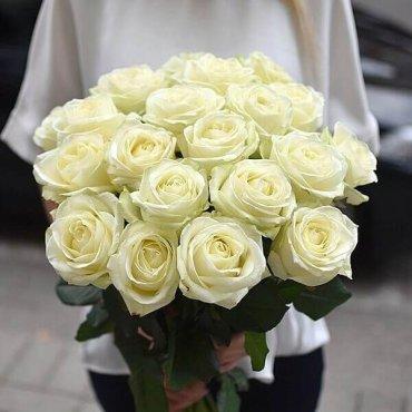 Baltos rožės gėlių puokštės