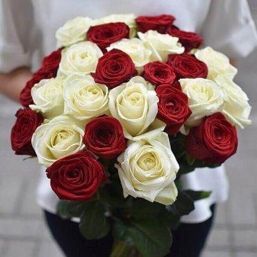 Raudonos ir baltos rožės gėlių puokštės